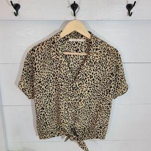 Ellison Leopard Button Tie Blouse
